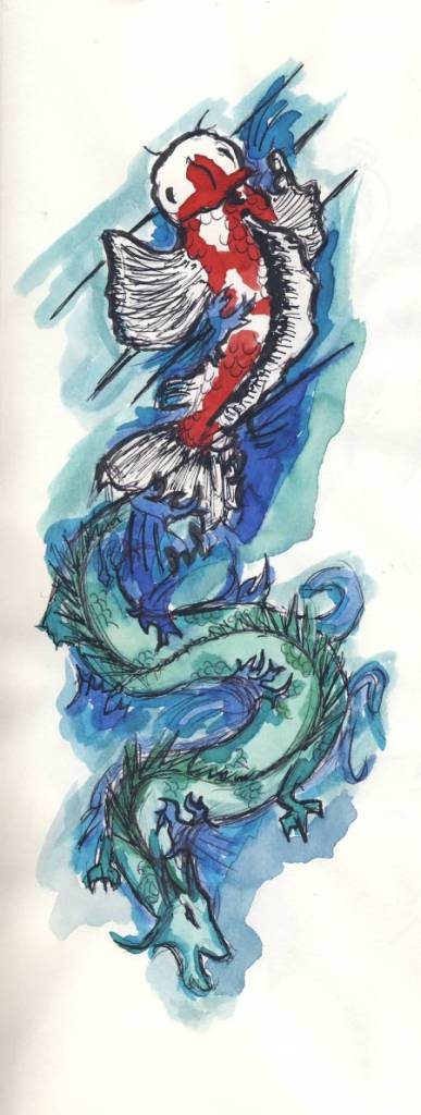 Koi dragon tattoo tattoo collections for Koi fish water