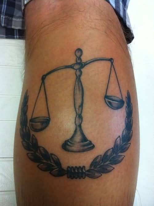 weighing scale justice tattoo calf. Black Bedroom Furniture Sets. Home Design Ideas