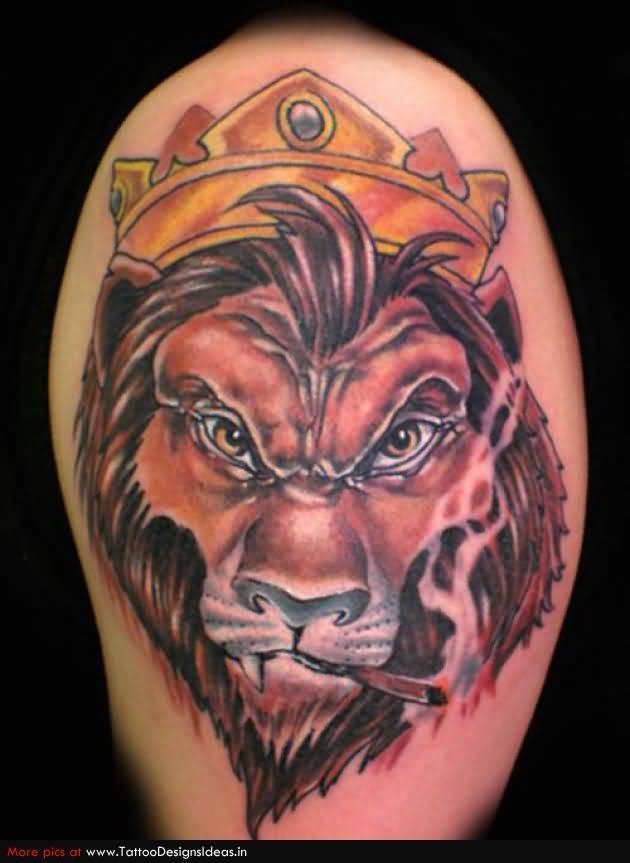 aggressive lion face tattoo. Black Bedroom Furniture Sets. Home Design Ideas
