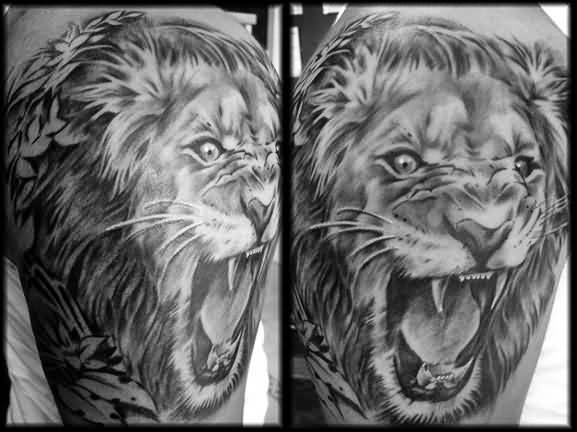 ad85d33ff Aggressive Lion Face Tattoo