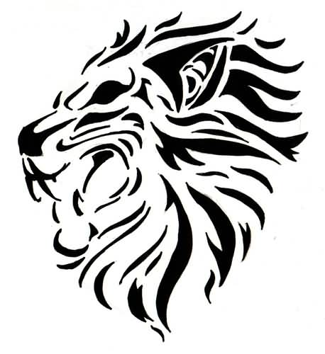 Aggressive Lion Roaring Tattoo Design