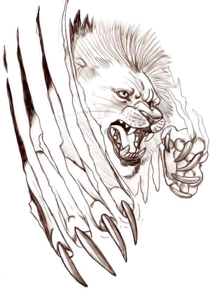 Lion Claw Rip Awesome Tattoo Design On Paper Tattooshunter