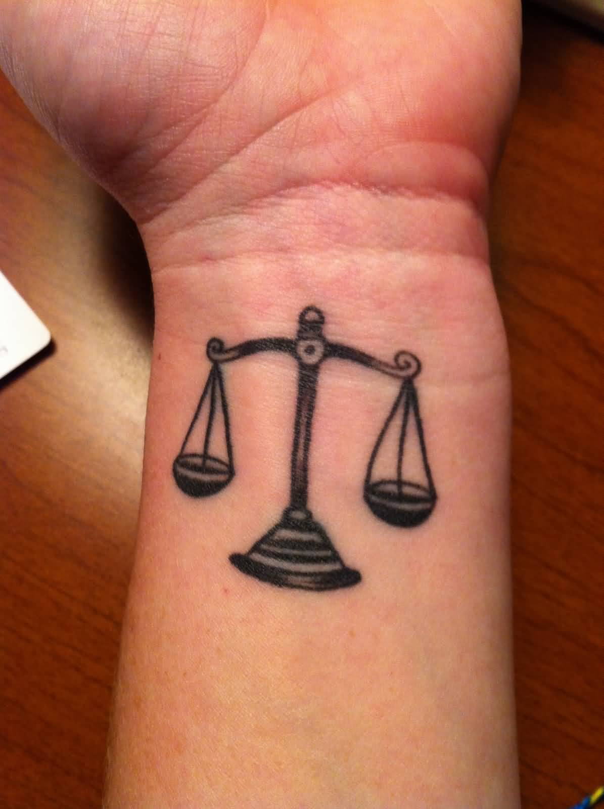 Beautiful Libra Weighing Scale Awesome Tattoo On Wrist