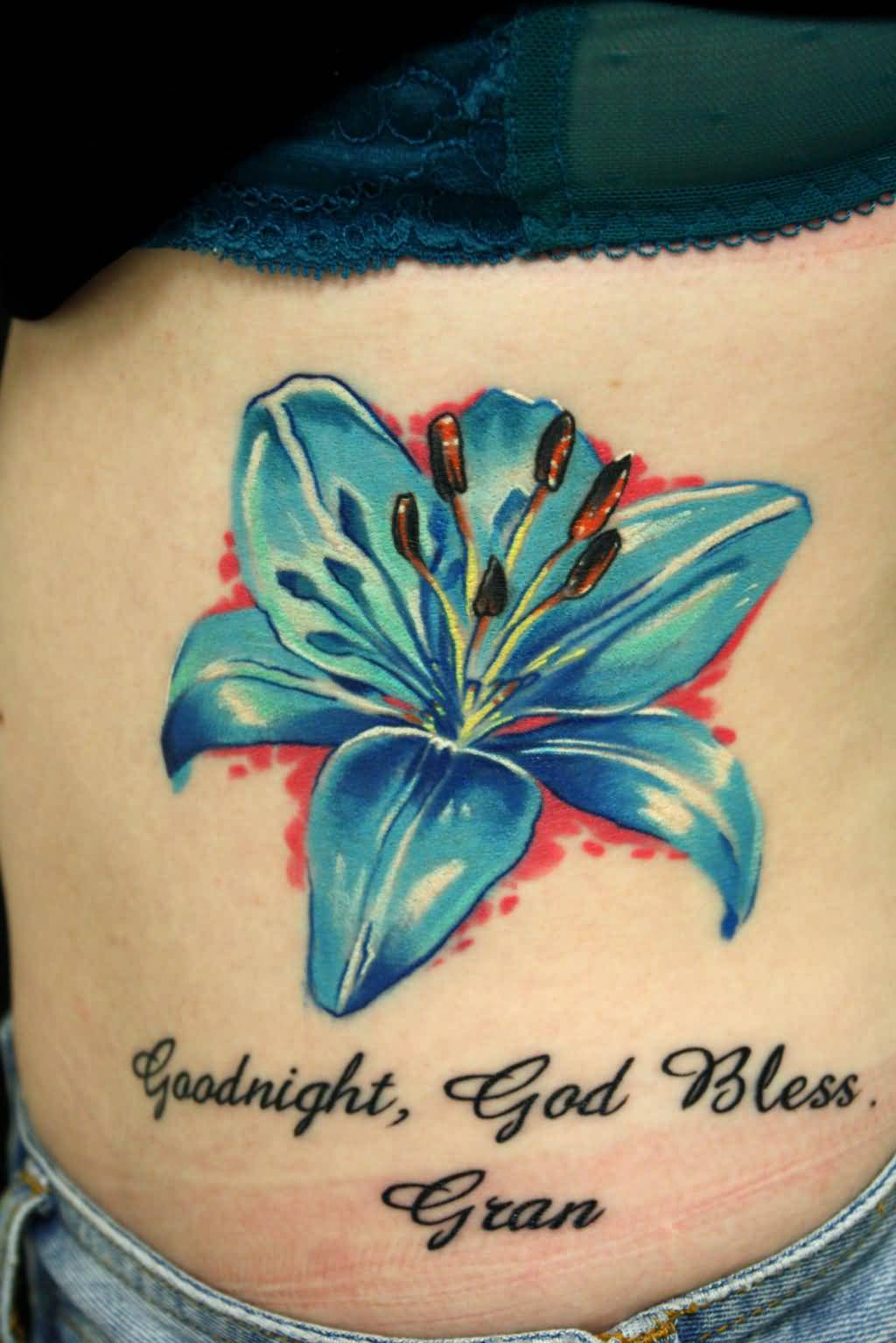 Blue lily flower tattoo tattooshunter blue lily flower tattoo izmirmasajfo