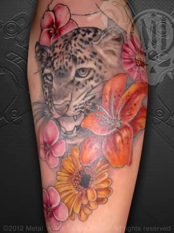 Cheetah print tattoos on shoulder with flowers