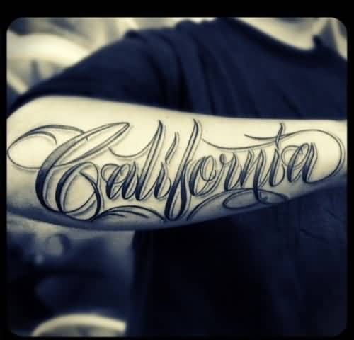 61f7044d6 City Name Lettering Tattoo On Forearm