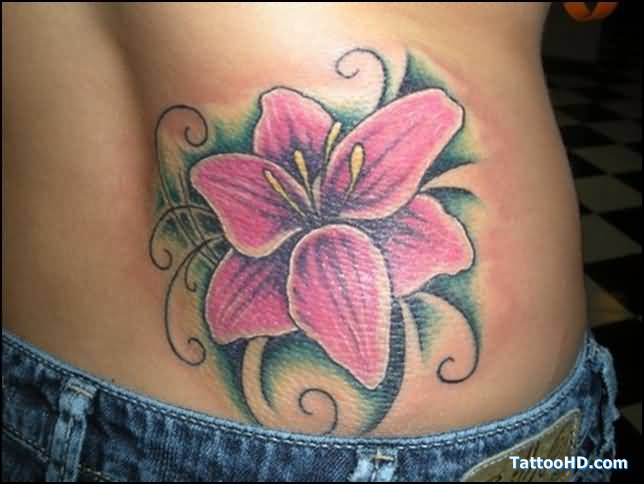 elegant lily flower tattoo on hip. Black Bedroom Furniture Sets. Home Design Ideas
