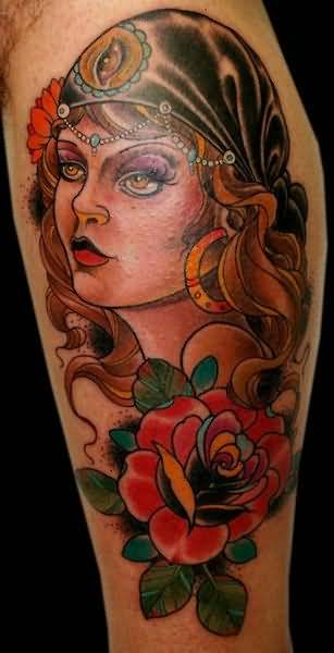 Fabulous Latino Tattoo Of Lady With Red Roses