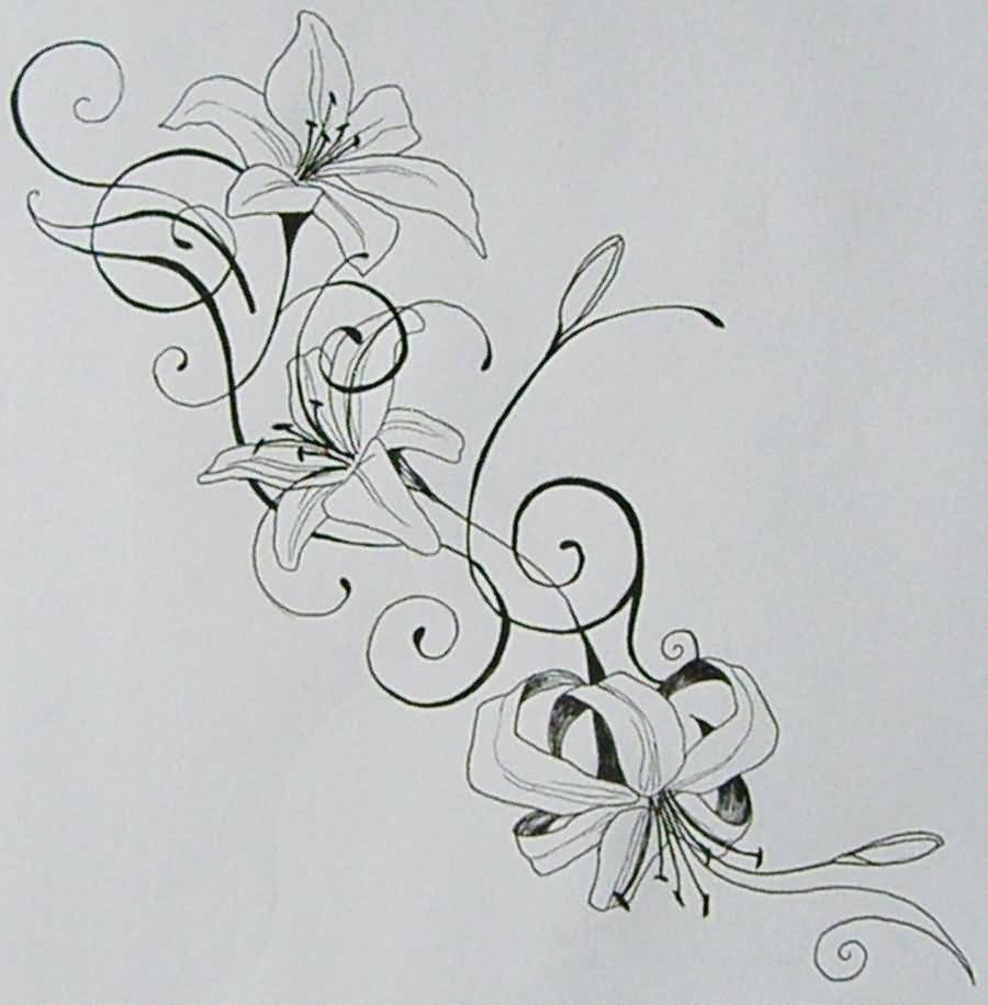 Flower Vine Line Drawing : Fabulous line art of lily flower vine tattooshunter