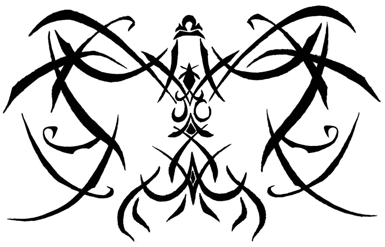 Garish Black Ink Use Tribal Libra Tattoo Design