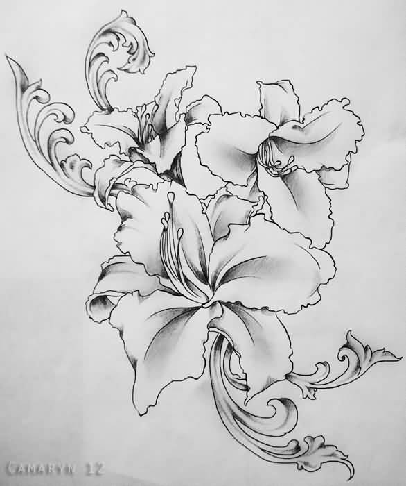 Lily Tattoo Line Drawing : Great line work of lily flower tattoo tattooshunter