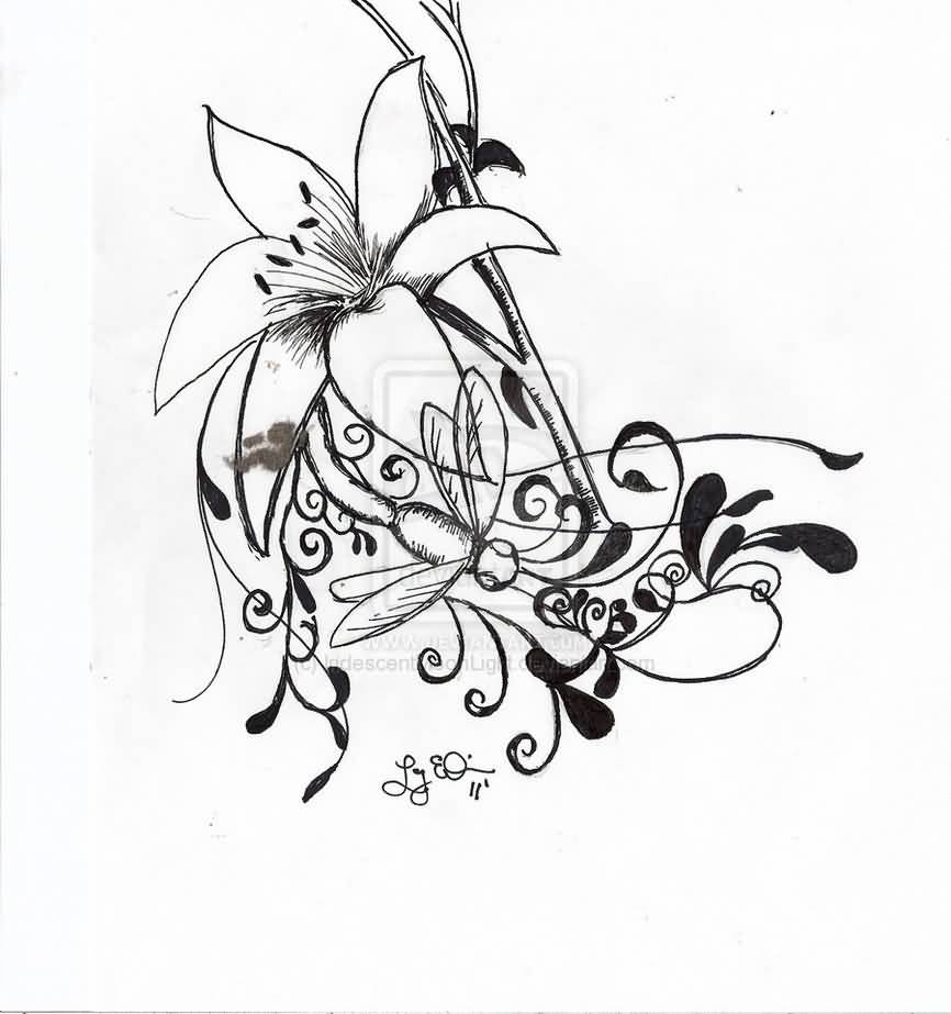 Lily tattoo ideas and lily tattoo designs page 10 great pencil art for lily tattoo izmirmasajfo