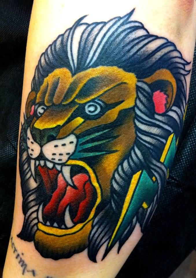 Incredible Tattoo Of Lion Head