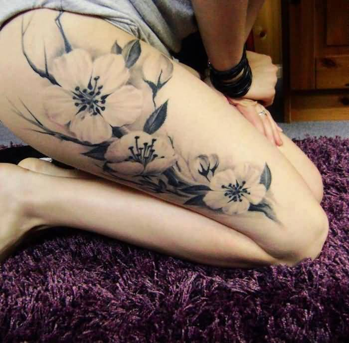 Lily Flower Leg Tattoo On Thigh For Beautiful Lady