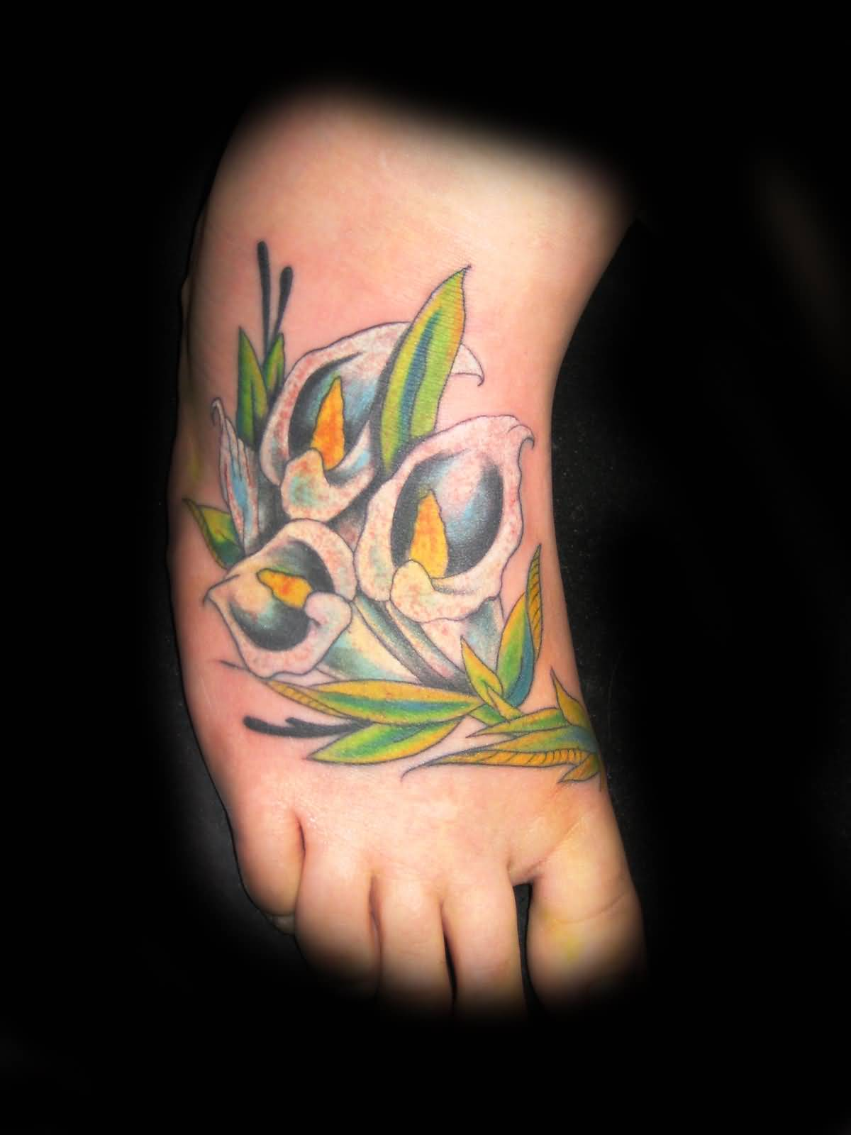 Lily Flower Tattoo On Foot Tattooshunter