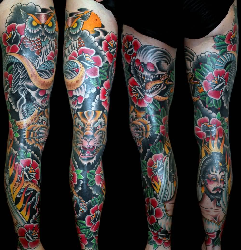 Long Size Leg Tattoo With Amazing Creativity