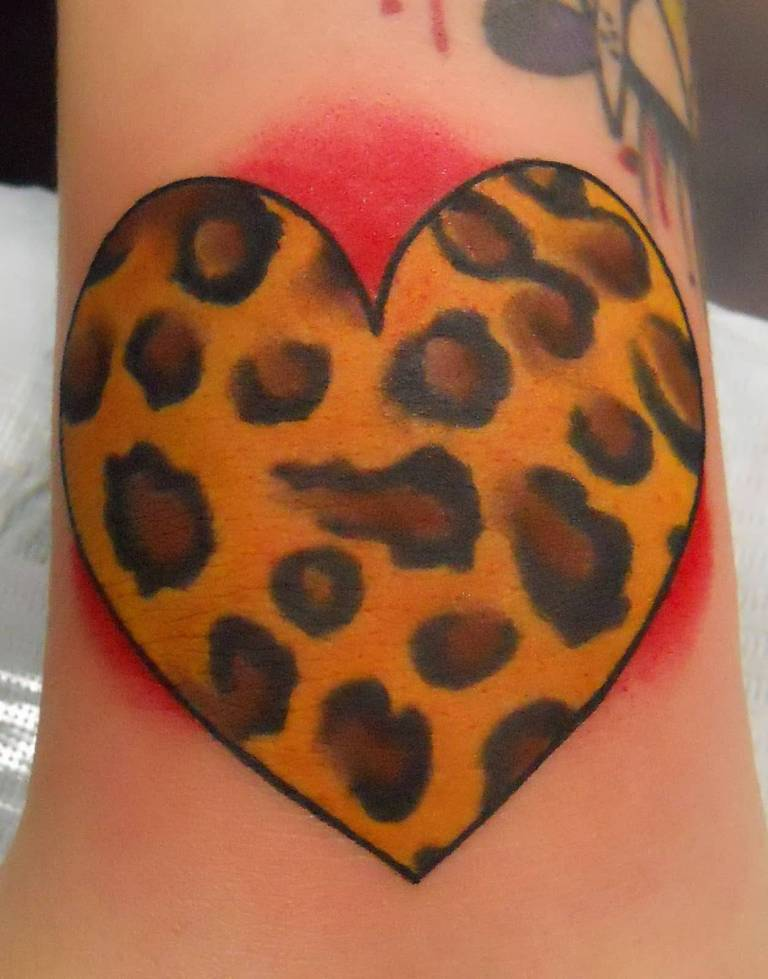 Colorful cheetah print tattoos