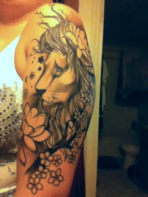 Lion tattoo shoulder girl - photo#2