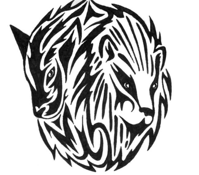 Maori Style Lion Tattoo From Shoulder To Chest
