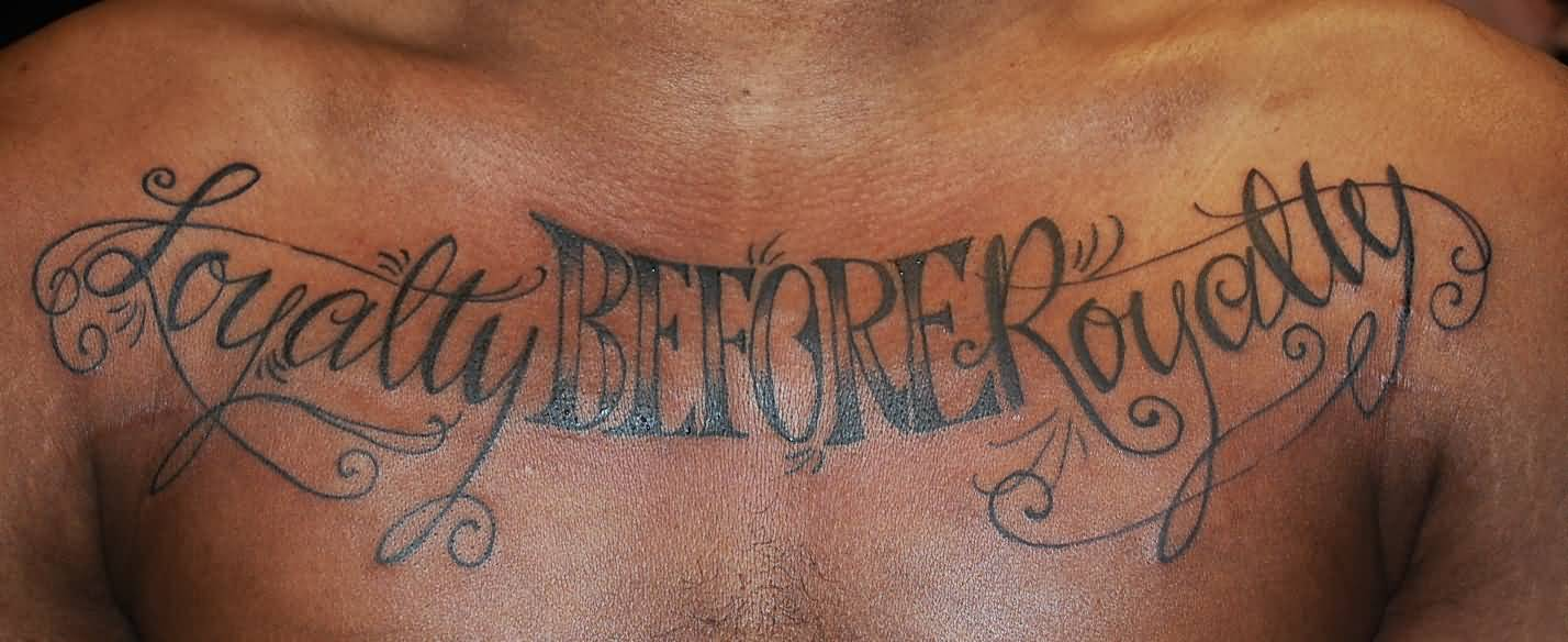 Perfect Lettering Tattoo For Chest