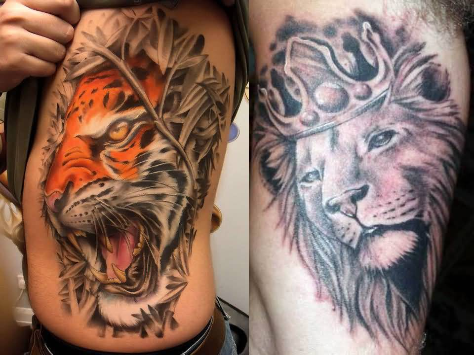 Realistic Lion Tattoo On Side Ribs