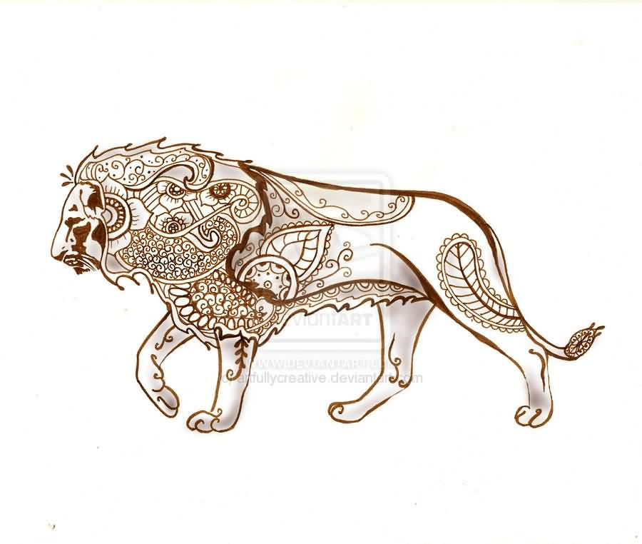 c190a86f3 Traditional Lion Tattoo Design On Paper