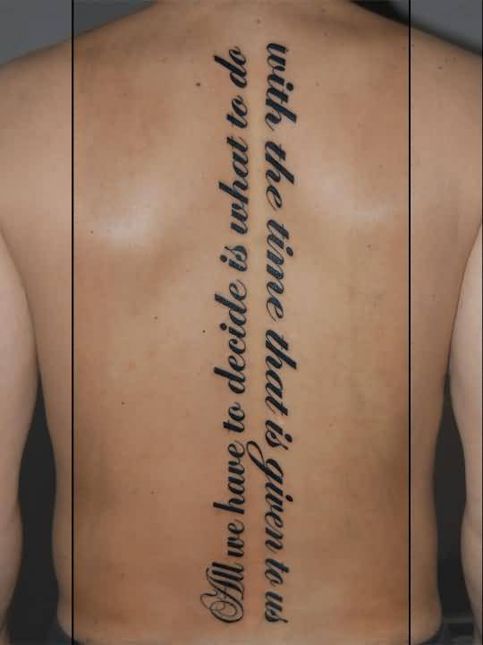 Vertical Spine Font Tattoos Men: Vertical Tattoo Of Literary On Cool Back