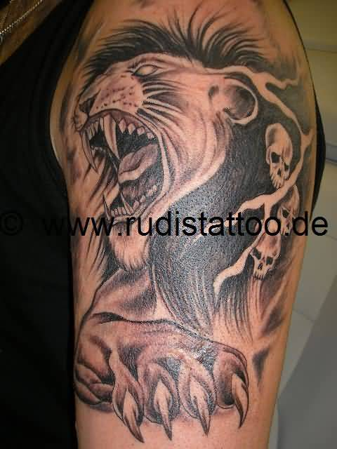 Very sacry lion tattoo with skull for Lion skull tattoo