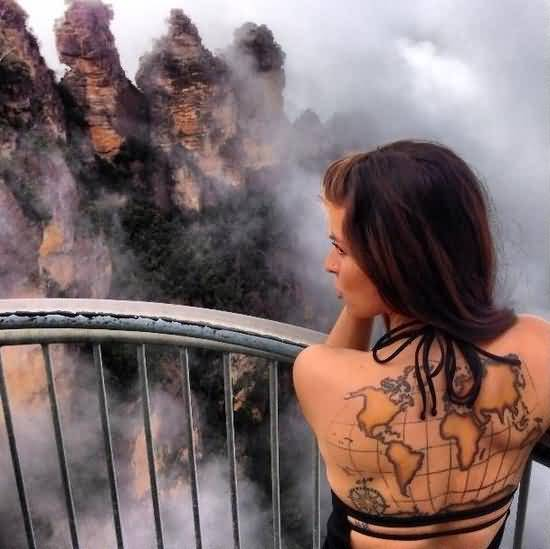 Attractive world map tattoo on cool girls back tattooshunter attractive world map tattoo on cool girls back gumiabroncs Image collections