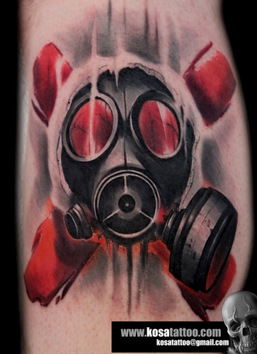 Awesome Gas Mask Tattoo Design