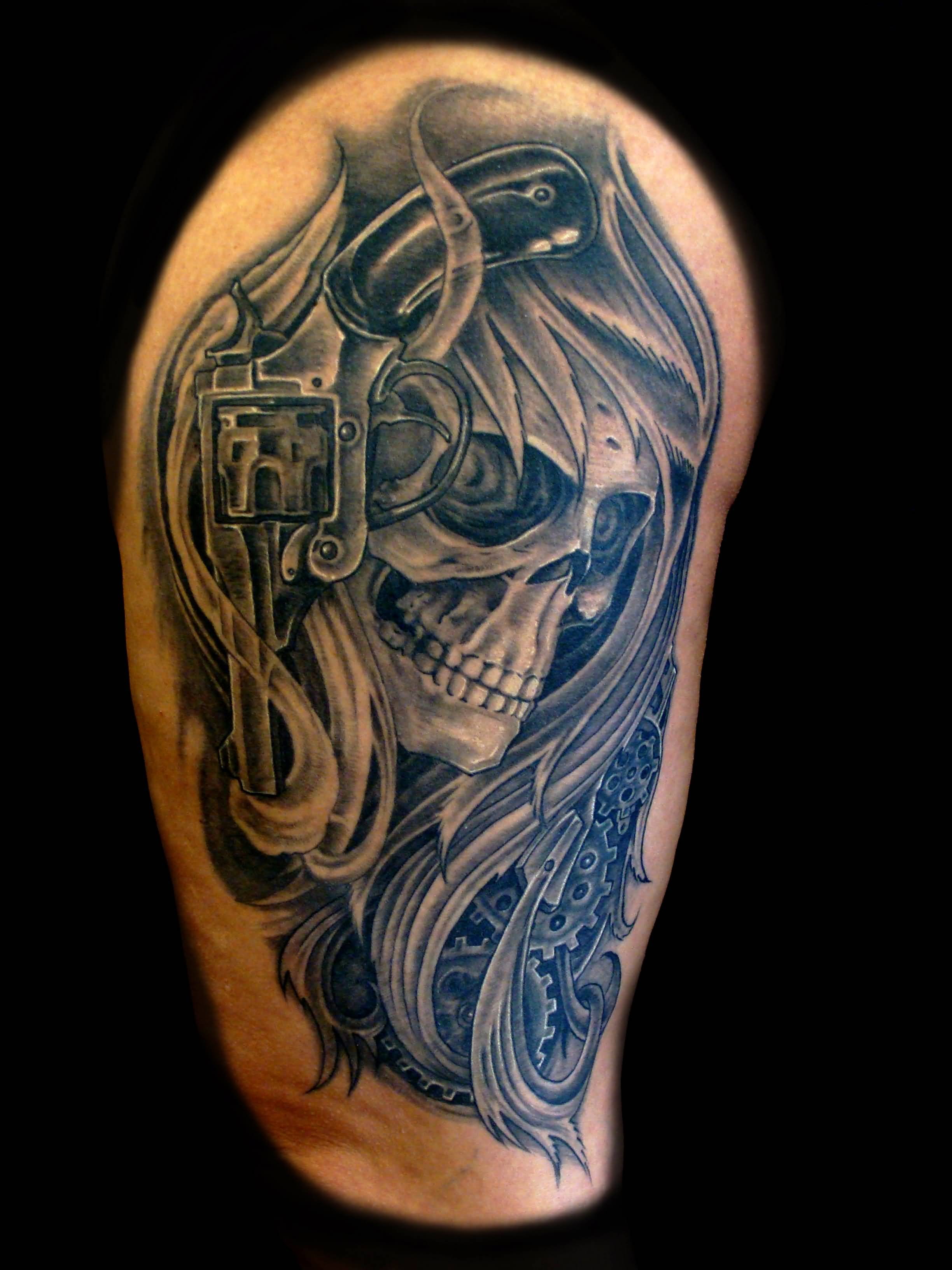 Awesome Mask Tattoo Of Skull