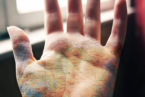 Awesome world map tattoo on palm tattooshunter awesome world map tattoo on palm gumiabroncs Choice Image