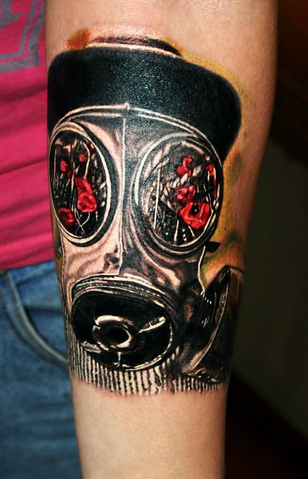 Best 3D Gas Mask Tattoo On Calf