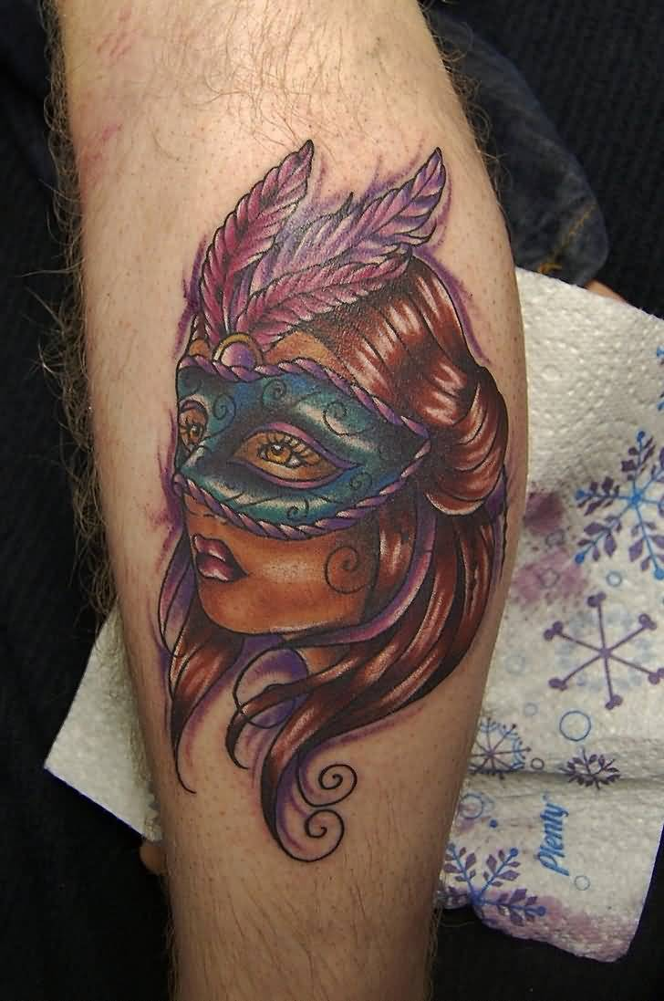 Best Tattoo Of Girl Face With Mask Ever