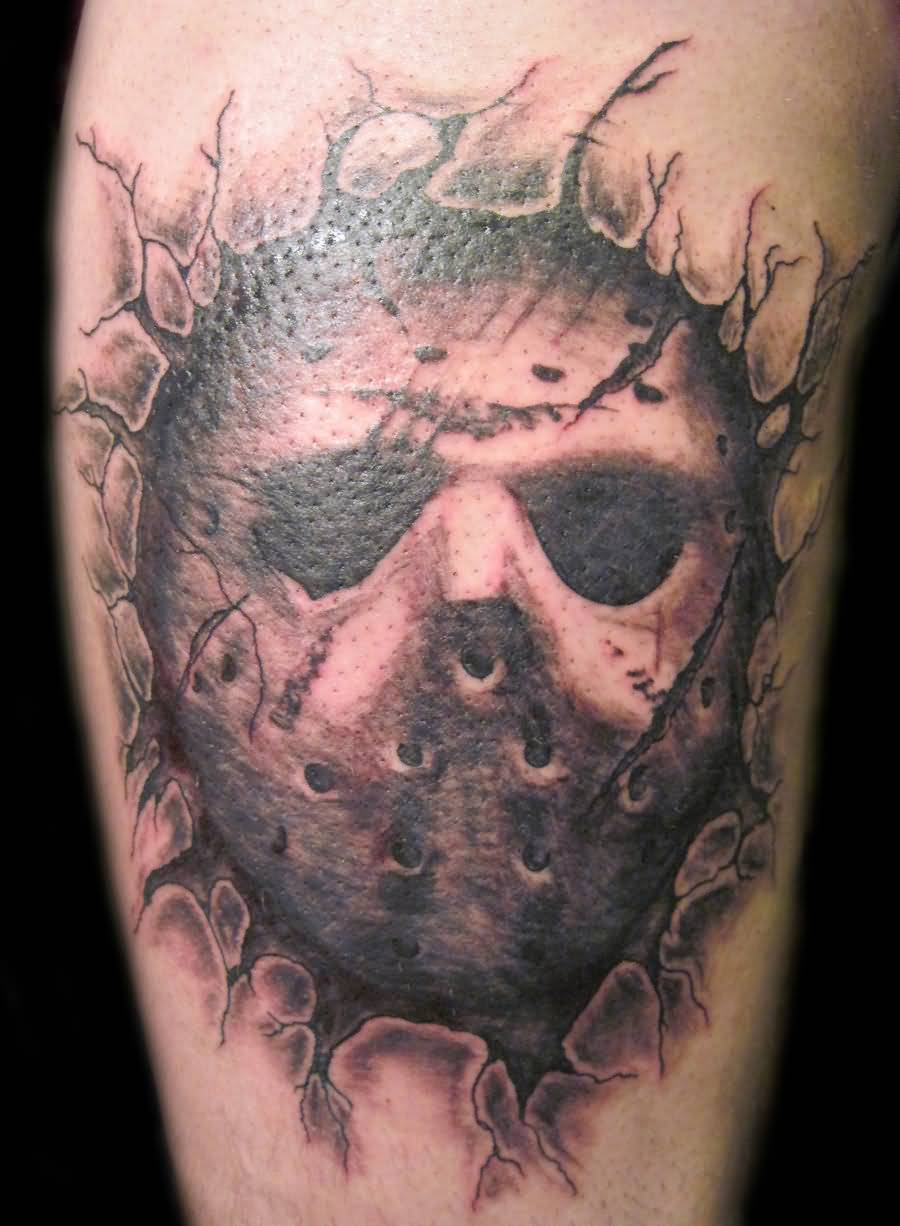 Brilliant Jason Mask Tattoo Made On Ripped Skin