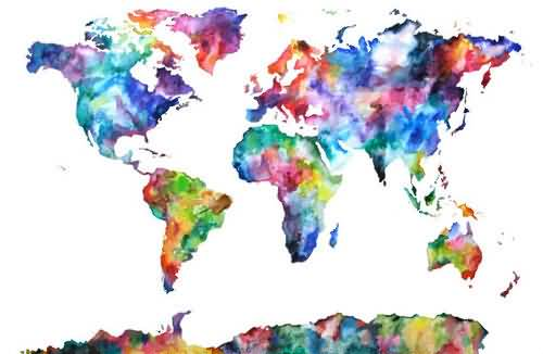 Brilliant Watercolour Stencil Of World Map