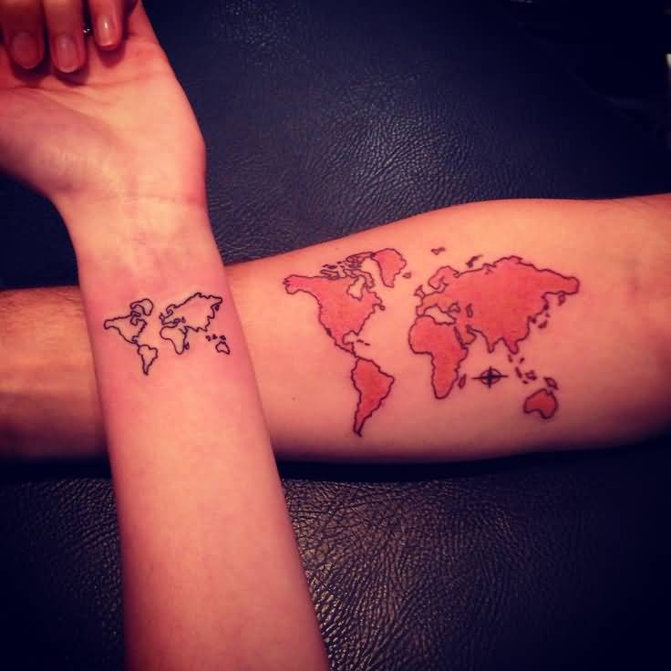 Brilliant world map tattoo on forearm tattooshunter brilliant world map tattoo on forearm gumiabroncs Image collections
