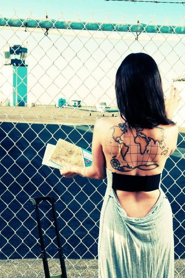 Old World Map Back Tattoo. Charming Lady With Map Tattoo On Upper Back Ideas and Designs  Page 3