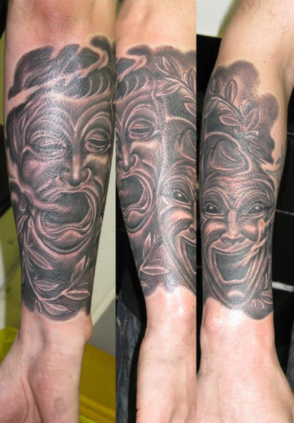 Charming Mask Tattoo Made By Expert