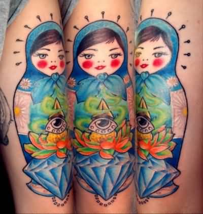 Cool Eye And Matryoshka Tattoo