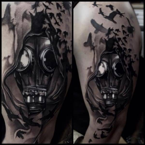 Cool gas mask tattoo on ripped skin tattooshunter cool gas mask tattoo on ripped skin voltagebd Image collections