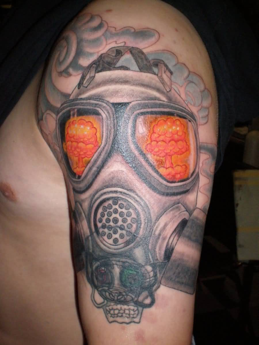 Cool tattoo of gas mask on shoulder for Cool upper arm tattoos