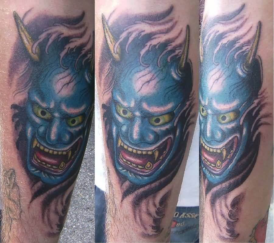Cool Mask Tattoo Of Oni