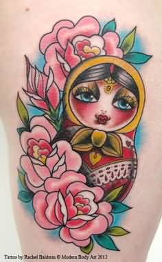 Cool Russian Matryoshka And Flowwer Tattoo