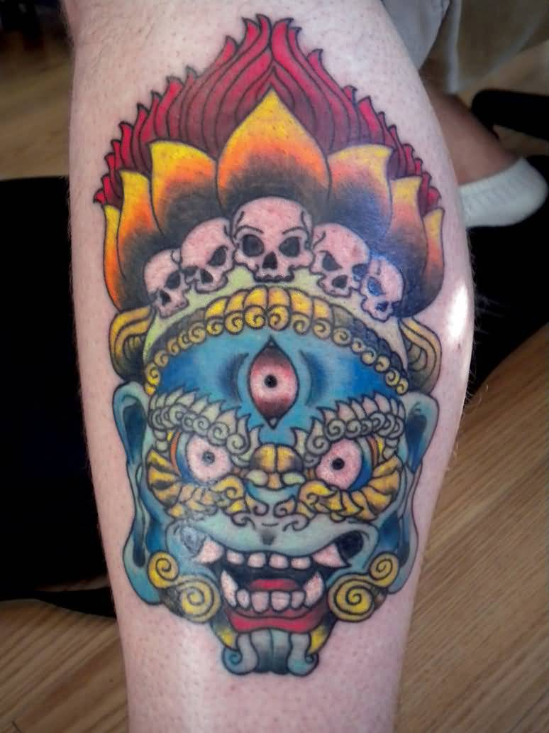 Customized Mask Tattoo With Skull