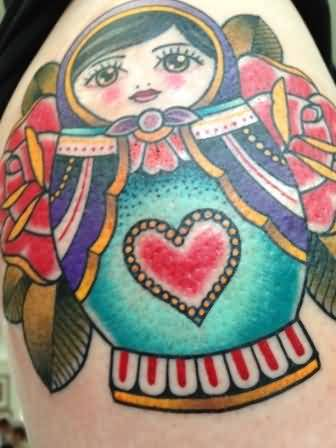 Cute Matryoshka Tattoo Decorated With Heart