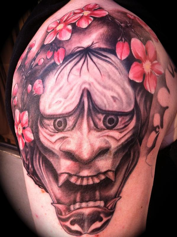 Extremely Best Tattoo Of Hannya Mask On Shoulder