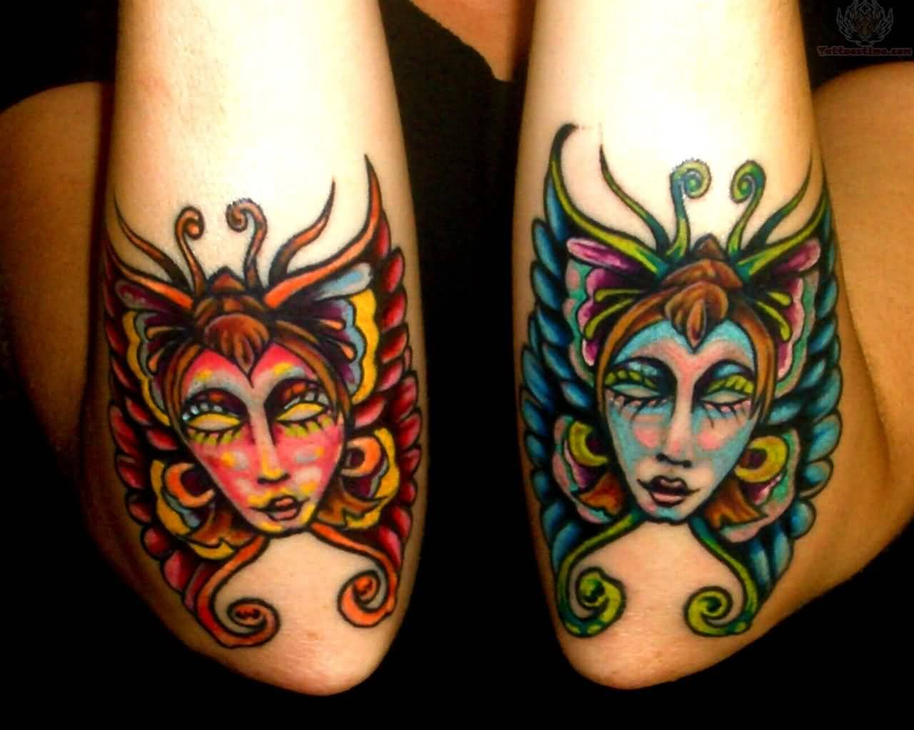 Fairy Mask Tattoo Design On Both Elbow