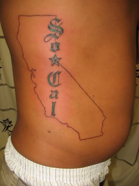 Famous Map Tattoo Of California On Rib Side