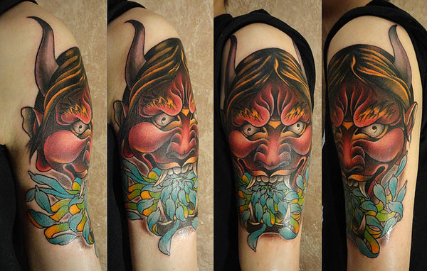 Fantastic Oni Mask Tattoo On Shoulder